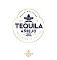 logo label tequila mustache mexican hat sombrero vector image