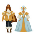 man and woman in baroque outfit ball gown and vector image vector image