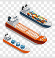 modern cargo ships isometric design set of vector image vector image