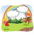 Musicians playing violin in the garden vector image vector image