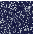 nautical sketch doodle icons seamless blue pattern vector image vector image