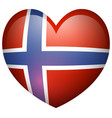 norway flag in heart shape vector image vector image