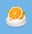 orange fruit in yogurt icon fruit and milk vector image vector image