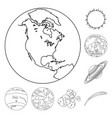 planets of the solar system outline icons in set vector image vector image