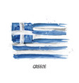 realistic watercolor painting flag of greece vector image vector image