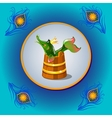 Russian folk character pike with peacock feather vector image vector image