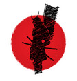 samurai warrior standing with flag katana sword vector image vector image
