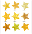 Set Golden star on white background vector image vector image