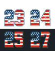 set numbers textured american flags vector image vector image