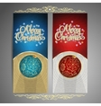 Set of cards with Christmas BALL tree and garland vector image vector image