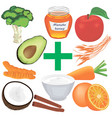 set of healthy food for good digestion vector image vector image