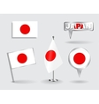 Set of Japanese pin icon and map pointer flags vector image