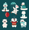 set of polar bears collection of cartoon polar vector image