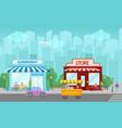 shops facade central street with public buildings vector image vector image
