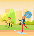 smiling beautiful woman walking in the park under vector image