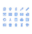 stationery supplies store blue line icon vector image