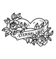 tattoo heart entwined in climbing rosesold school vector image vector image