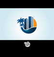 tropical island palms hotel and sunset on seaside vector image vector image