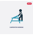 two color carpenter working icon from people vector image vector image
