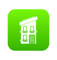 two-storey house icon digital green vector image vector image