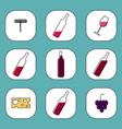 wine icons set design elements for restaurant vector image
