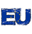 word eu with european union flag under it vector image vector image