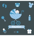 Baby shower icons set boy blue vector image