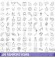 100 rejoicing icons set outline style vector image vector image