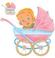 a baby lies in a pram and vector image