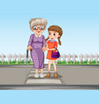 a girl helping grandmother crossing road vector image