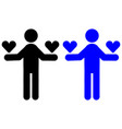 a man holds a heart icon vector image vector image
