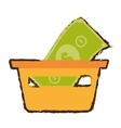 basket shopping bill money online sketch vector image vector image