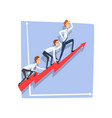 business people climbing together on red arrow top vector image vector image
