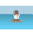 Businessman on a raft in the middle of the sea vector image vector image