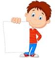 Cartoon boy holding blank paper vector image vector image