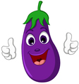 cartoon eggplant giving thumbs up vector image