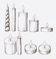 collection candles isolated on a white vector image