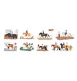 collection people riding horses bundle cute vector image