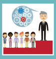 competitor concept - leader stands on the podium vector image vector image