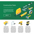 construction tools isometric icons website vector image