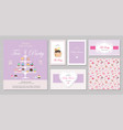 cute templates with cupcakes stand and sweets in vector image vector image