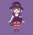 Cute Witch with a Black Cat Laying on her Lap vector image