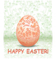 decorative easter egg on green floral background vector image