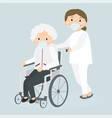 disabled old woman and medical worker in medical vector image vector image