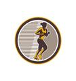 Female Marathon Runner Side View Retro vector image vector image