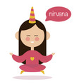 girl meditating in air yoga logo vector image