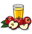 glass apple juice vector image vector image