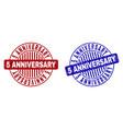grunge 5 anniversary textured round stamp seals vector image vector image