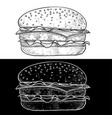 hamburger black and white hand drawn sketch vector image