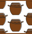 korean pottery seamless pattern clay saucepan vector image